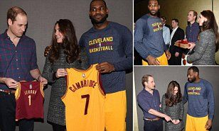 Prince William and Kate posed with the star Cleveland Cavaliers player in New York yesterday after a game with the Brooklyn Nets, where they were presented with a shirt for Prince George.