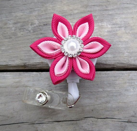 Retractable I.D. Badge Holder in Kanzashi Ribbon Flower with Pointed petals ID Badge Reel in Magenta Pink  and light Pink Color Combination