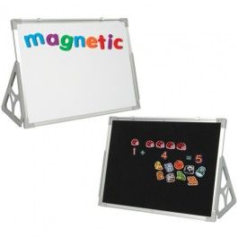 """3+'N+1+Magnetic+Write+&+Wipe+Flannel+Board+-+18""""+x+24""""+-+Use+the+whiteboard+for+writing+with+dry+erase+markers+and/or+magnetic+accessories.+The+reverse-side's+black+fabric+holds+felt+and+flannel+stories.+Aluminum-framed+boards+can+be+hung+or+used+free-standing+with+included+stands,+and+with+or+without+removable+trays.++-+$49.99"""