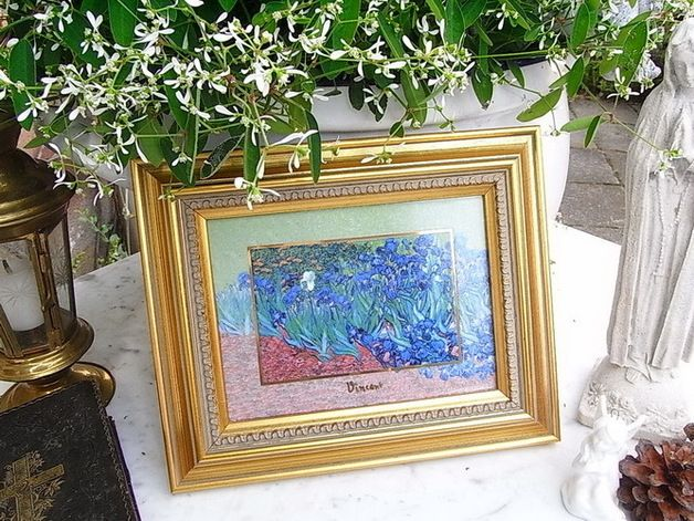 Vintage Bilder - vintage Goebel Bild, van Gogh Iris, shabby chic - ein Designerstück von artdecoundso bei DaWanda