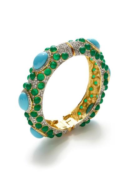 Kenneth Jay Lane Turquoise Cabachon & Crystal Bangle Bracelet