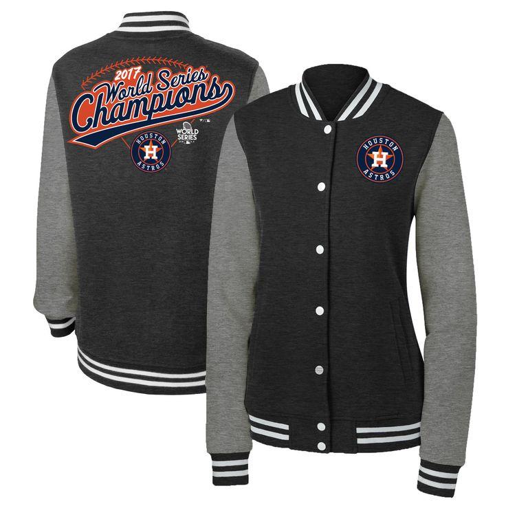 Women's Houston Astros Fanatics Branded Heather Charcoal 2017 World Series Champions Clubhouse Full-Snap Varsity Jacket