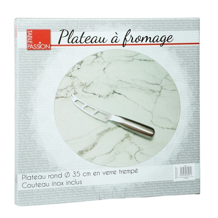 Plateau A Fromage Rond Decor Marbre 35 Cm Avec Couteau – Taille : Taille Unique