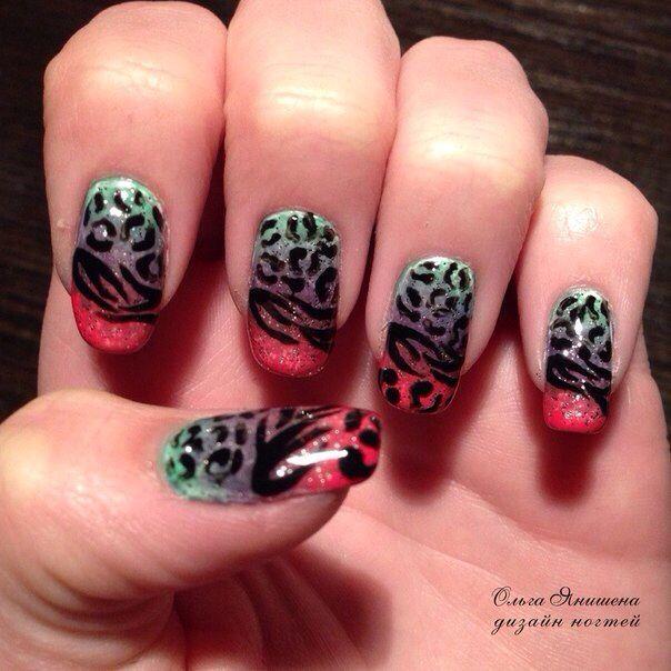 Огненный леопард #nail #nails #ногти #маникюр #рисунок #зебра #леопард #стразы #nailart #art #naildesign #design #nailstyle #style #zebra #leopard #panther