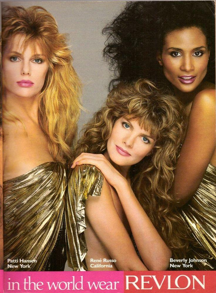 1987 Rene Russo Beverly Johnson Patti Hansen Revlon Print Ad Vintage VTG 80s #Revlon
