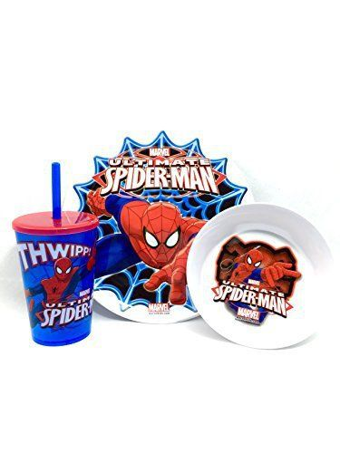 Marvel Ultimate Spider-Man set includes 3 pieces. Dinner plate, Bowl and Cup with Lid and Straw.  - http://kitchen-dining.bestselleroutlet.net/product-review-for-marvel-ultimate-spider-man-3-piece-mealtime-set-by-zak/