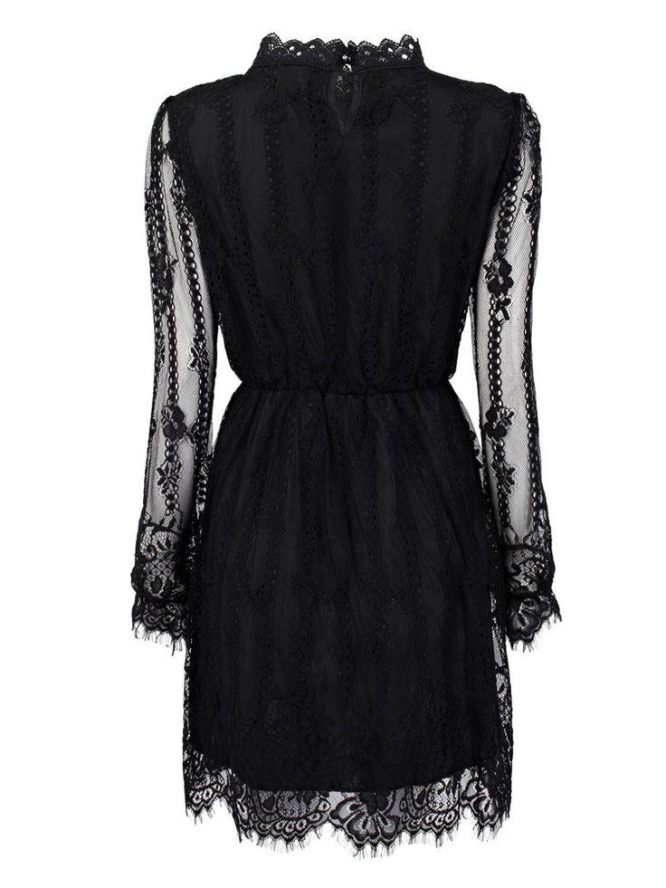 Elegant Elastic Waist Long Sleeve Pleated Stand Collar Mini Lace Dress Online…