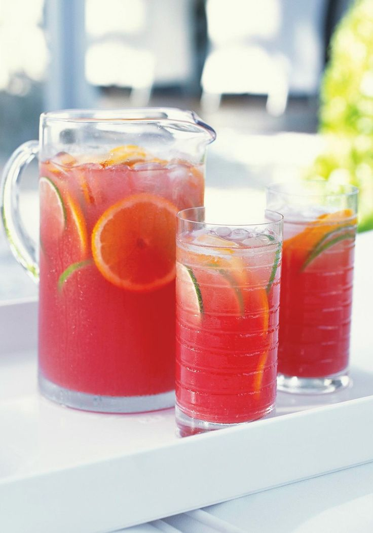 Sangria Punch -- There's nothing like sangria to add a refreshing chill to summer. This fruity cranberry-citrus punch recipe has no alcohol, so anyone can enjoy it.