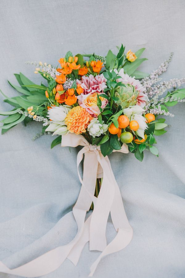wedding bouquet with kumquats - photo by Fondly Forever Photography http://ruffledblog.com/california-orange-grove-wedding