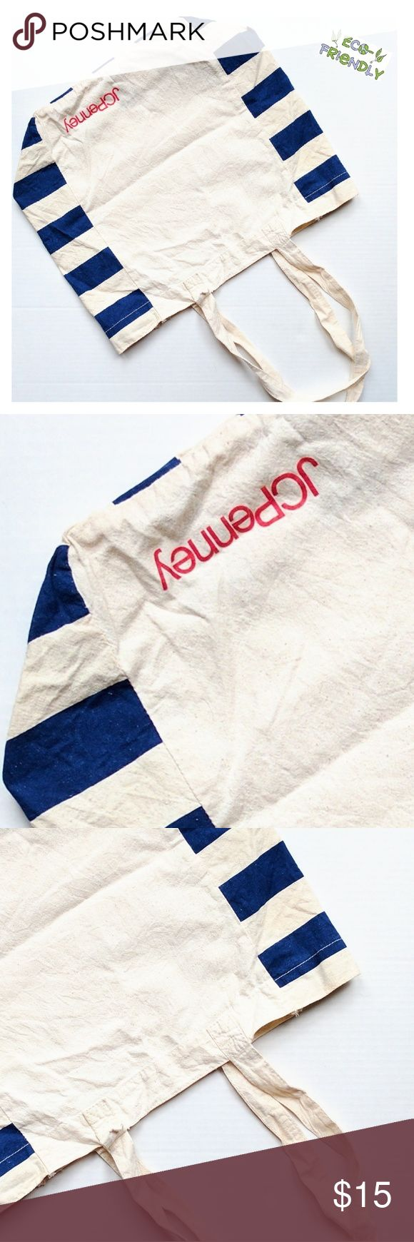 ♻️ eco-friendly patriotic tote * Tote * Lightweight * Eco-Friendly * Cream / Beige  * Blue Nautical Stripe Sides * Red JcPenney Logo * BRAND NEW - FLAWLESS * FROM A PRIVATE VIP PR EVENT  * Summer * Beach * Shopping * Errands * Carry All * Cotton  * Organic * Vacation * Packable * Bags Totes