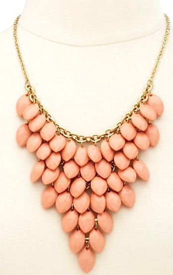 Clustered Faceted Bead Bib Necklace from Charlotte Russe. #prom #statementnecklace #jewelry