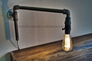 How to make a modern swing arm lamp with iron pipe fittings. www.ElizabethLyonsDesigns.com