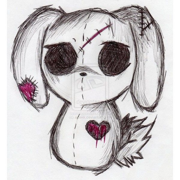 emo bunny by ajcekk ❤ liked on Polyvore featuring anime, art and extra