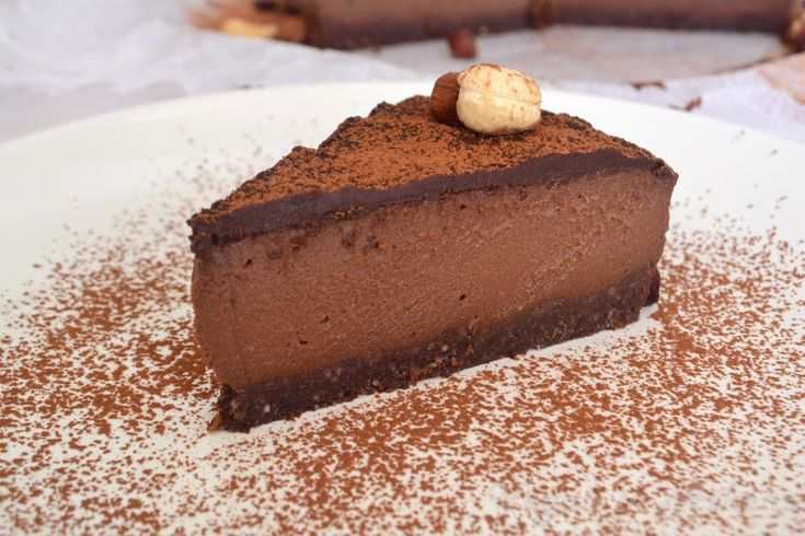 Classic, mouth-watering, raw vegan, double- chocolate cheesecake.  #glutenfree #raw #vegan #cheesecake #chocolate