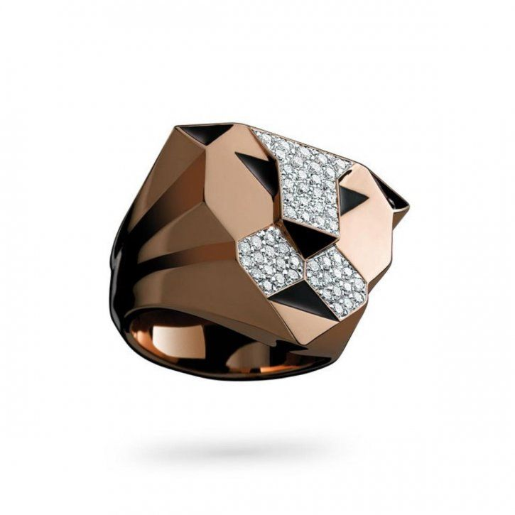 Ring in pink gold, black enamel and diamonds by GB-Enigma.