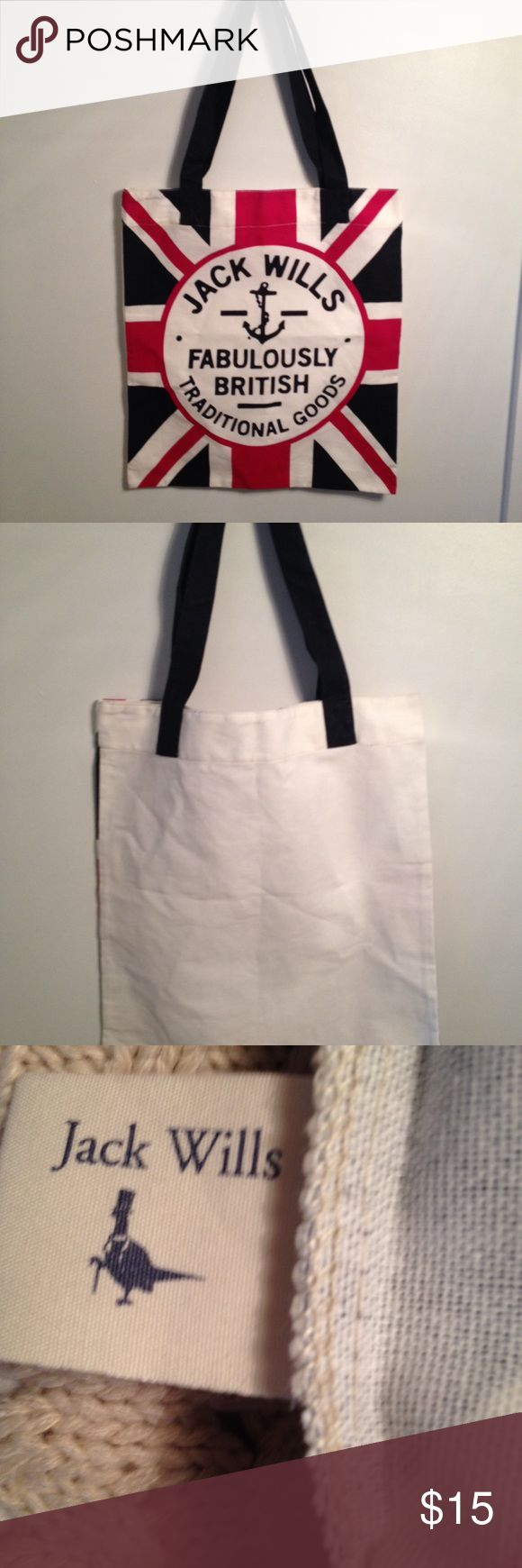 Jack Wills Fabulously British Tote Jack Wills Fabulously British Traditional Goods Tote. Union Jack design. New. Excellent condition. Wash instructions on interior tag. 100% cotton. Jack Wills Bags Totes