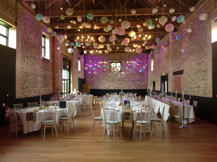 Pom poms!!  These looked so fun and really complemented the barn....