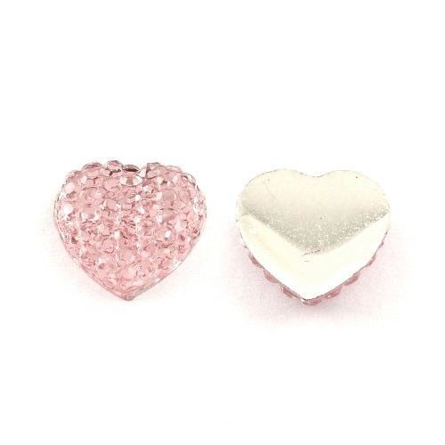 2,13+0 somethingcrafty Packet of 30 x Pink Resin 16mm Heart-Shaped Flat-Backed Cabochon Y03015