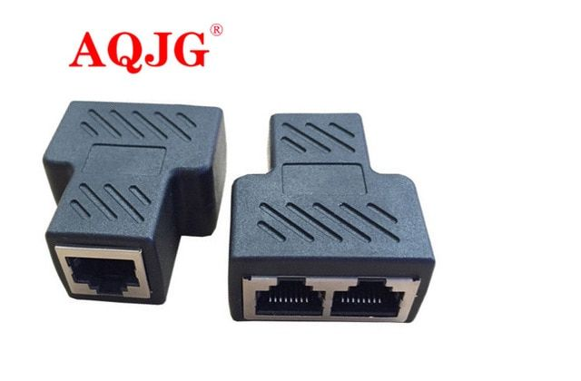 2x Cat6 RJ45 8P8C Plug to Dual RJ45 Splitter Network Ethernet Patch Cord Adapter