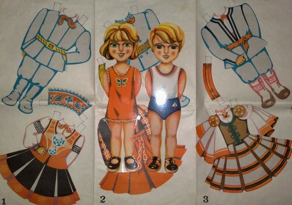 Большие мальчик и девочка (30 см). Игрушки СССР - http://samoe-vazhnoe.blogspot.ru/