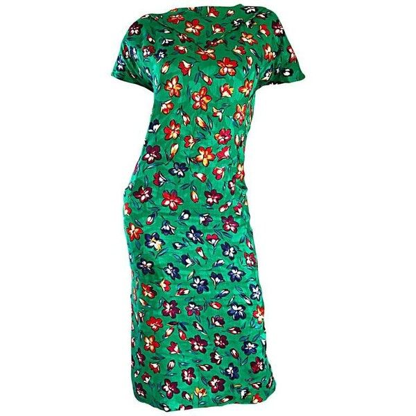 Preowned Vintage Emanuel Ungaro For Amen Wardy Size 14 Kelly Green... ($850) ❤ liked on Polyvore featuring dresses, cocktail dresses, green, floral cocktail dresses, flower printed dress, green dress, floral print cocktail dress and kelly green dress