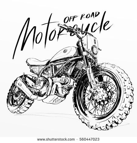Off road motorcycle poster illustration, hand drawing sketch, custom motorcycle banner