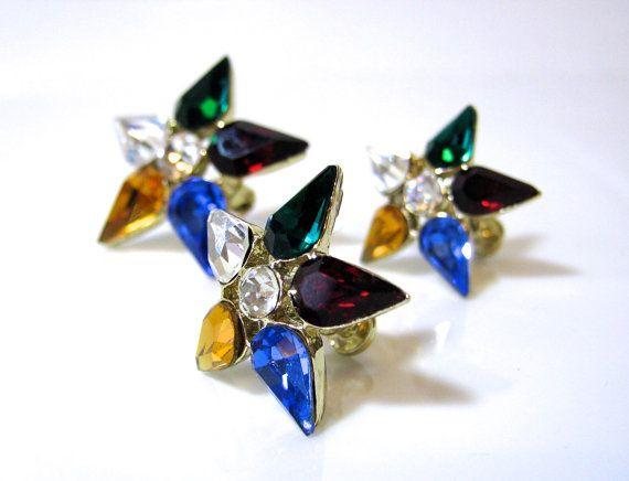 Vintage Brooch and Earrings Set, Eastern Star Jewelry, Rhinestones, Screw Back Earrings, Masonic Jewelry on Etsy, $20.00 CAD