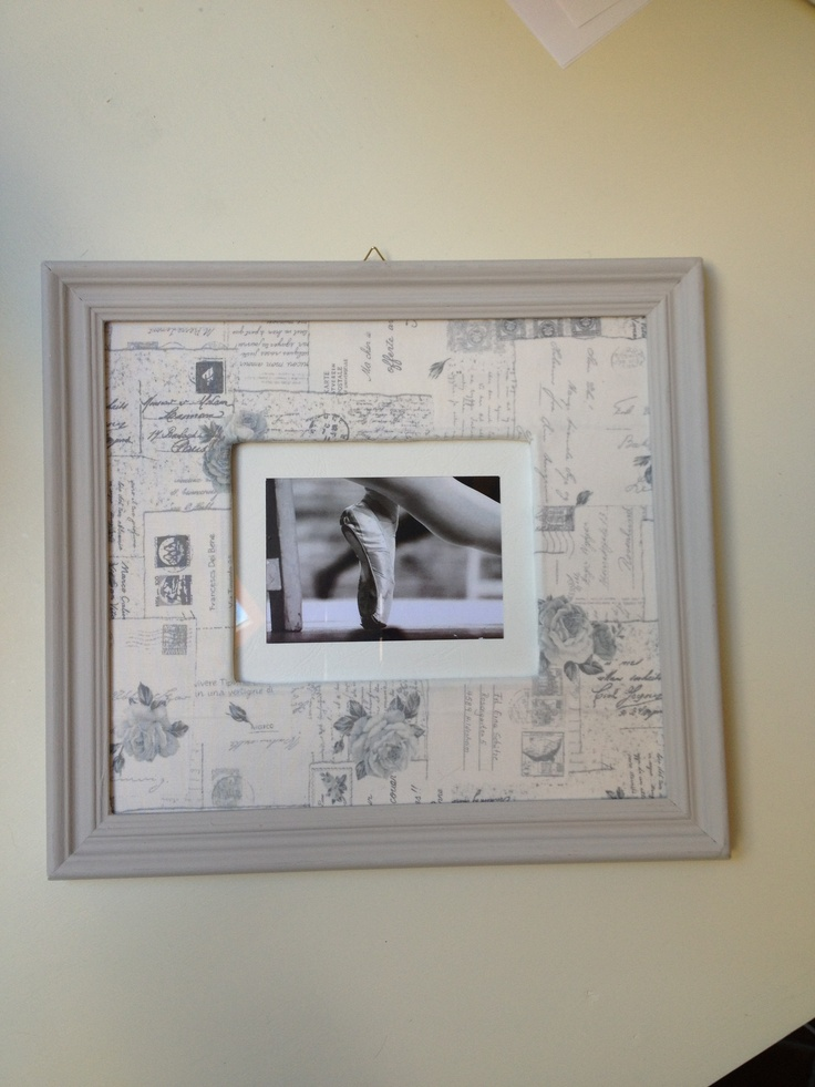 Frame with print and fabric