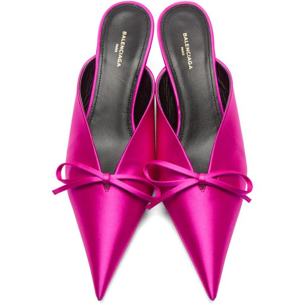 e70c173db97 Balenciaga PInk Satin Knife Mules ( 795) ❤ liked on Polyvore featuring  shoes