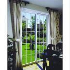 stanley doors 72 in x 80 in double sliding patio door with 15 lite internal white flat grill