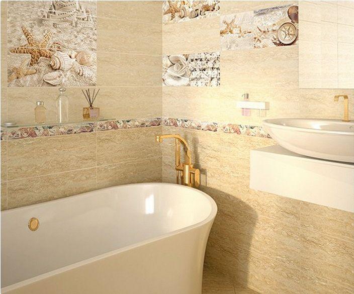 керамическая плитка  для ванной комнаты с рисунком море - Azori Caliza