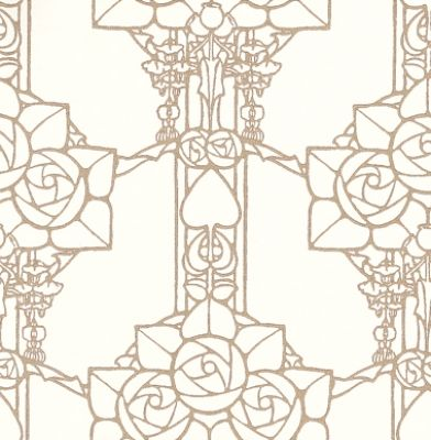Pergola (81/5020) - Cole & Son Wallpapers - An intriguing Charles Rennie Mackintosh inspired Art Nouveau design with a latticework of stylised flowers and hearts. Drawn in silver on a cream base. Please ask for a sample for true colour match.