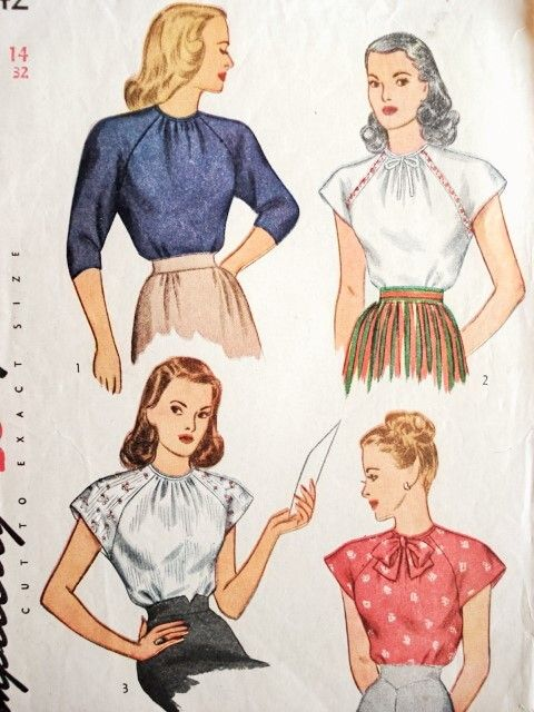 1940s Blouse Pattern Pretty Forties Raglan Sleeve Blouse Bow Neckline Simplicity 1542 Vintage Sewing Pattern Bust 32