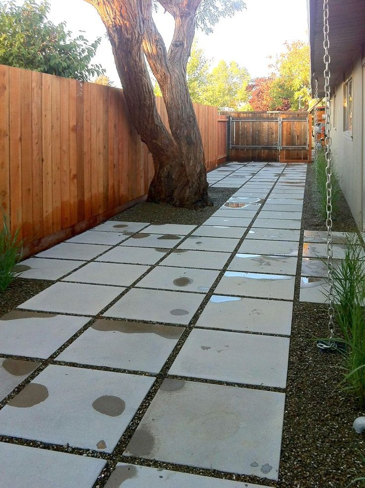 Side outdoor path yard landscaping