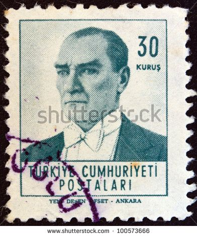 TURKEY - CIRCA 1961: A stamp printed in Turkey shows a portrait of Kemal Ataturk, circa 1961. - stock photo