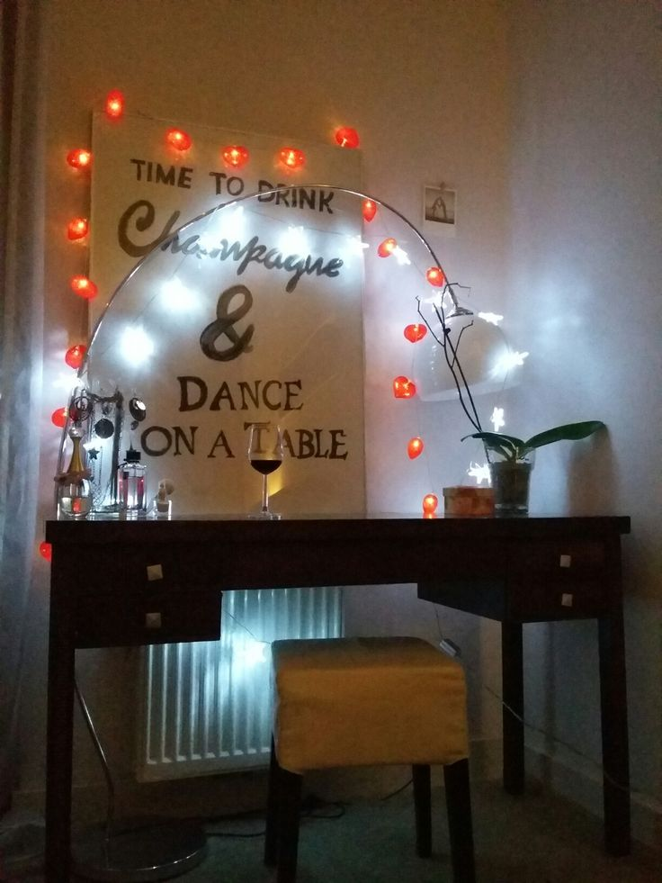Dressing table,  cottonball lights and homemade poster