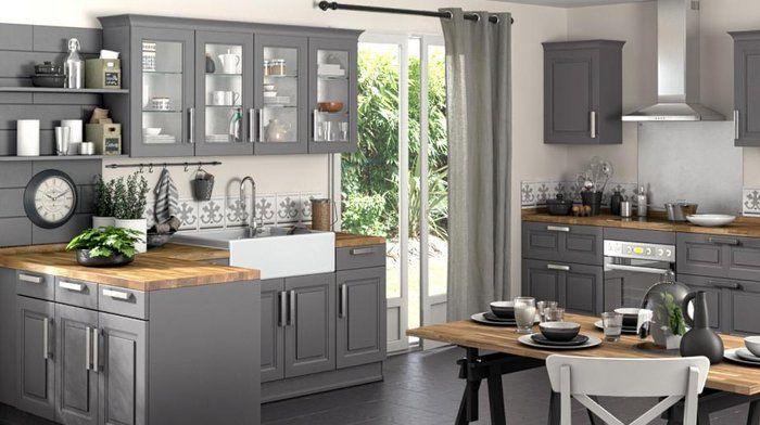 cuisine grise total look bois brut dégradé rustique Lapeyre
