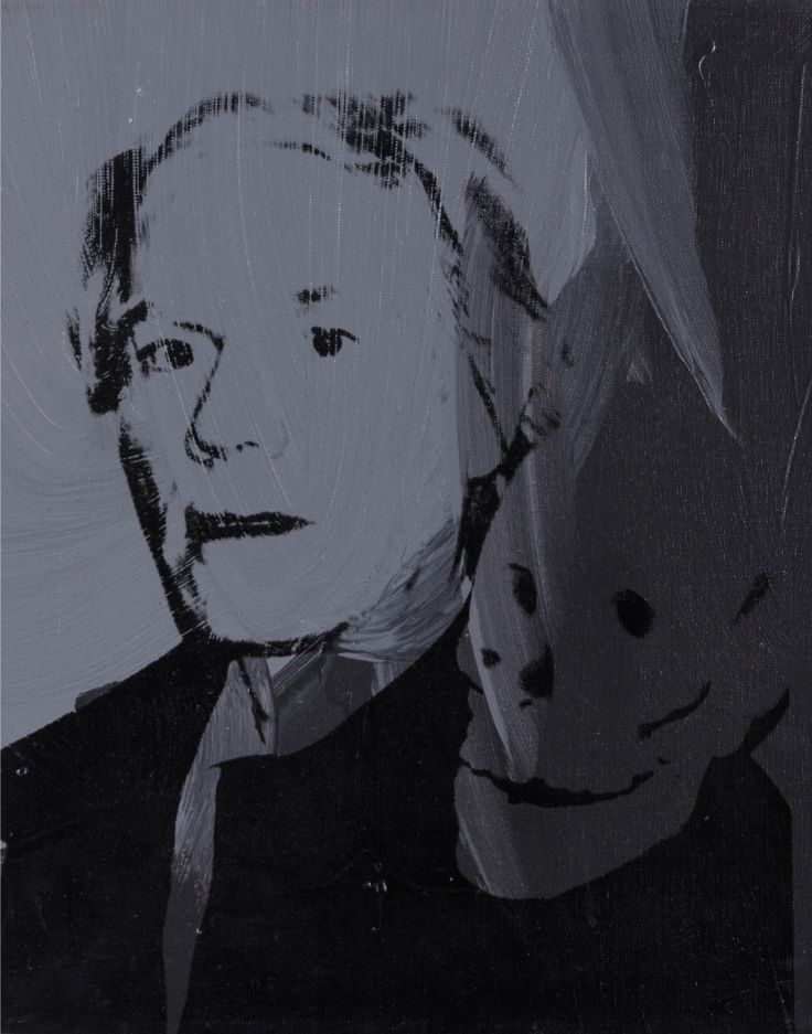 """Andy Warhol (American, 1928 – 1987) / """"Self Portrait with Skull,"""" 1976 / Silkscreen ink on synthetic polymer paint on canvas / Des Moines Art Center Permanent Collections; Gift of Roy Halston Frowick, New York, 1986.32 / Photo Credit: Rich Sanders, Des Moines"""