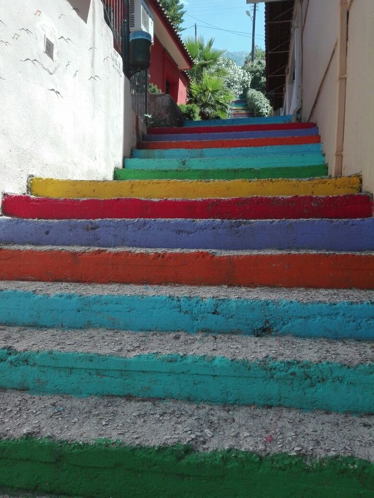 Colorful stairs in Paramythia