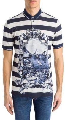 Dolce & Gabbana Nautical Striped Print Polo