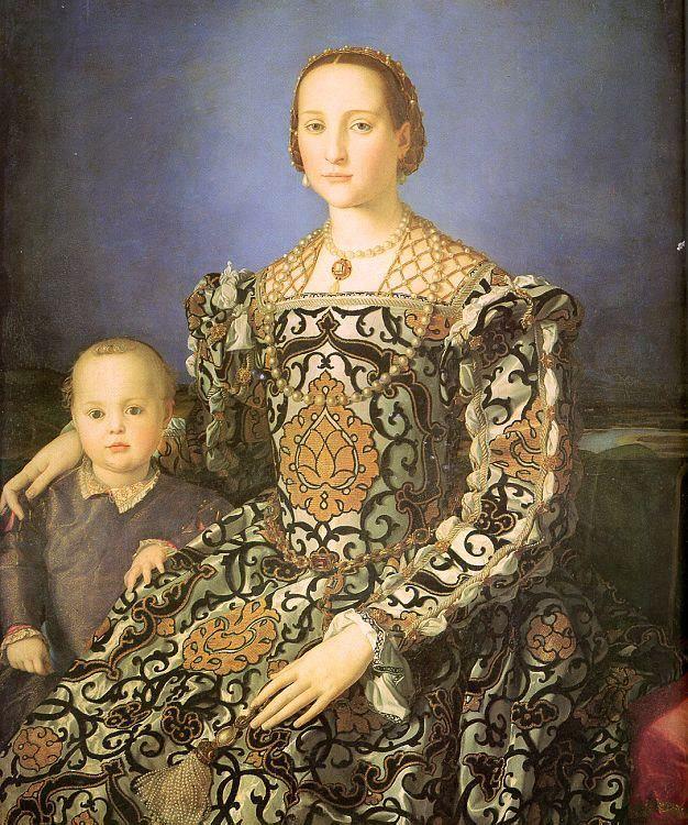 Bronzino, Portrait of Eleonora of Toledo with her son Giovanni Medici (1545) - Uffizi Gallery, Florence