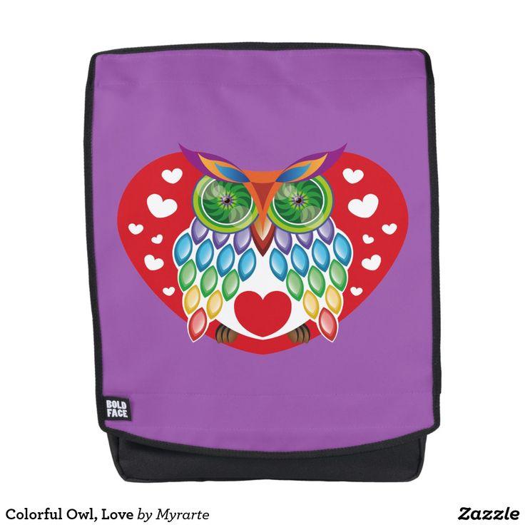 Colorful Owl, Love. Producto disponible en tienda Zazzle. Accesorios, moda. Product available in Zazzle store. Fashion Accessories. Regalos, Gifts. #mochila #backpack
