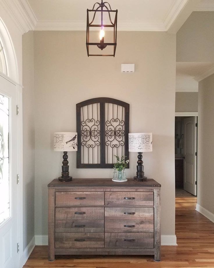 Rustic and Classic entryway decor. Neutral paint color is ...