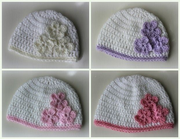 Lacy Crochet: Baby Hat with Three Flowers, Pattern ...