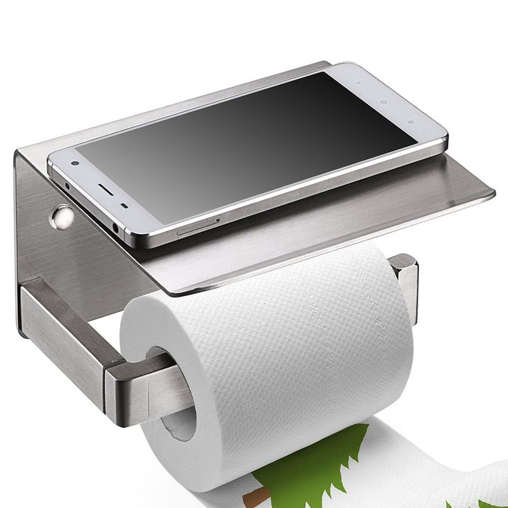 Toilet Paper Holder, Sumnacon Havey Duty Stainless Steel Bathroom Tissue Holder with Mobile Phone Storage Shelf - Contemporary Style Wall Mount Thickened Wipes Holder Brushed Nickel(Thicken)