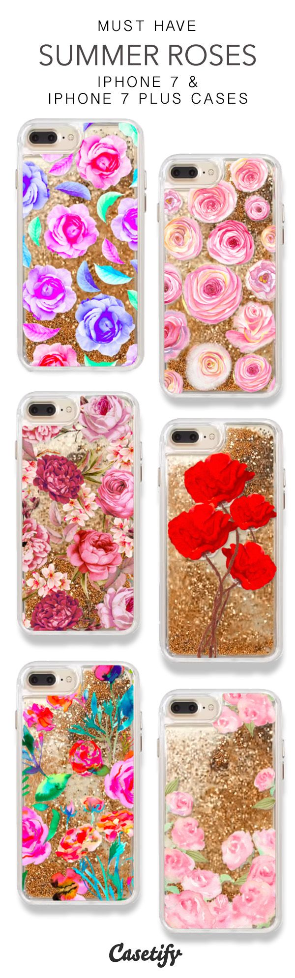 Must Have Summer Roses iPhone 7 Cases & iPhone 7 Plus Cases. More Protective Liquid Glitter Floral iPhone case here > https://www.casetify.com/en_US/collections/iphone-7-glitter-cases#/?vc=DIwB92anhb