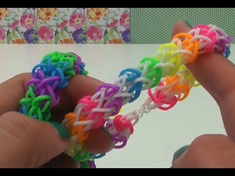 DIY zickzack Loom Armband mit Gabel Anleitung deutsch - Rainbow Loom zig...