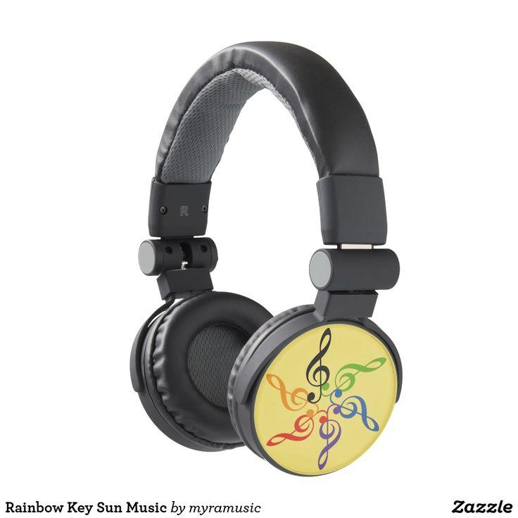 Rainbow Key Sun Music Headphones. Música, music. Producto disponible en tienda Zazzle. Tecnología. Product available in Zazzle store. Technology. Regalos, Gifts. #headphones #sound