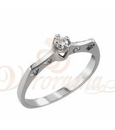 Μονόπετρo δαχτυλίδι Κ18 λευκόχρυσο με διαμάντι κοπής brilliant - MBR_008