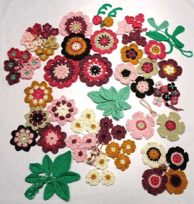 Gehaakte bloemen & bladeren applicaties - starter pakket Field of Flowers babydeken - set van 80 bloemen, 18 bladeren + patroon voor deken door StitchEScrochet op Etsy